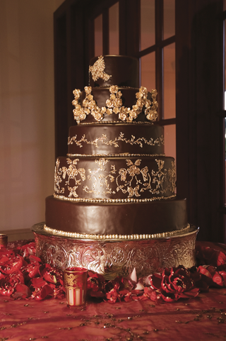 five-layer-dark-chocolate-cake-with-gold-leaf-pattern