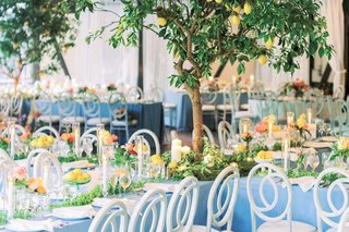 A Charming Fete Lemon Reception Décor light blue linens