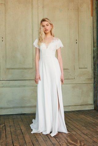 maven-by-christos-spring-2018-slim-crepe-ruffle-sleeve-gown-lace-trim-v-neckline-skirt-slit