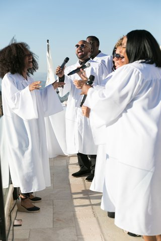 Gospel Choir Directed by Nayanna Holley performing at wedding ceremony malibu rocky oaks vineyard