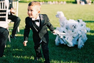 ring-bearer-in-little-tuxedo-pulling-white-wagon-with-three-maltese-dogs-in-wedding