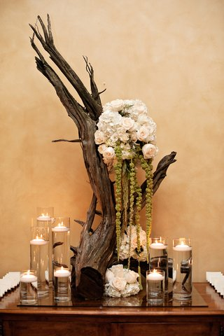 wedding-place-card-table-decorated-with-a-bare-branch-white-hydrangeas-and-roses-green-amaranthus