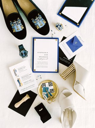 blue-white-gold-invitation-suite-cute-illustrations-fashion-drawings-stamps-modern-shoes-accessories
