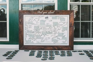 find-your-island-escort-card-display-place-settings-map-green-themed-maine-wedding-creative-ideas