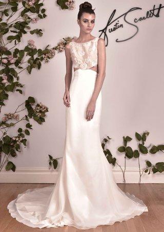 austin-scarlett-fall-2016-two-piece-wedding-dress-with-high-neck-bodice-and-sleek-skirt