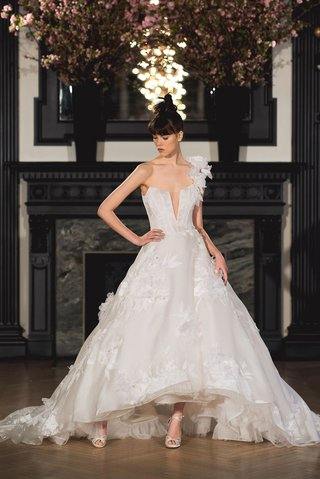 ines-di-santo-spring-2019-bridal-collection-wedding-dress-claire-one-shoulder-high-low-ball-skirt