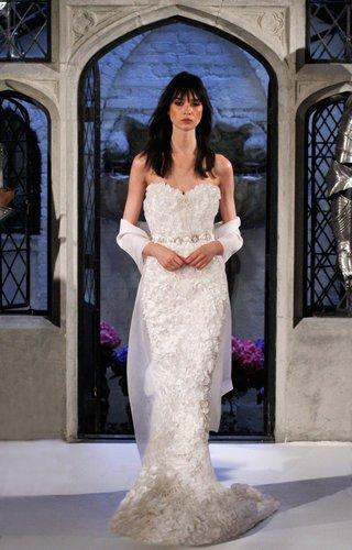 oleg-cassini-spring-2018-wedding-dress-3d-flower-applique-strapless-sheath-dress-banded-waist-flower