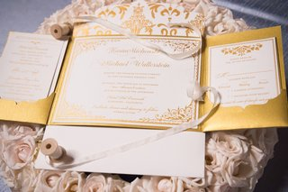 gold-white-fold-out-invites-wedding-calligraphy-hotel-del-coronado-patterns-paper-goods