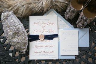 blue-gold-invitations-ribbon-north-carolina-wedding-winter-shoes-purse-metallic-formal-creative