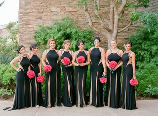 black-bridesmaid-dresses-with-slits-and-cut-out-details