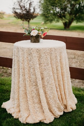 wedding-reception-texture-rosette-linen-cocktail-table-flower-centerpiece-white-peony-pink-flowers