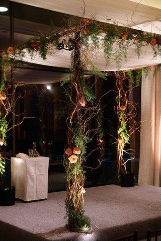 jewish-wedding-ceremony-carol-leifer-lori-wolf-curly-willow-branch-chuppah-greenery-orange-flowers