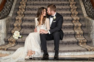 wedding-photograph-four-seasons-chicago-portrait-inbal-dror-wedding-dress-groom-in-tuxedo-bouquet