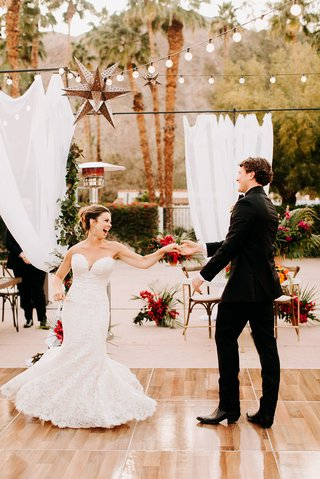 wedding first dance spanish style courtyard la quinta resort and club bride with hair up