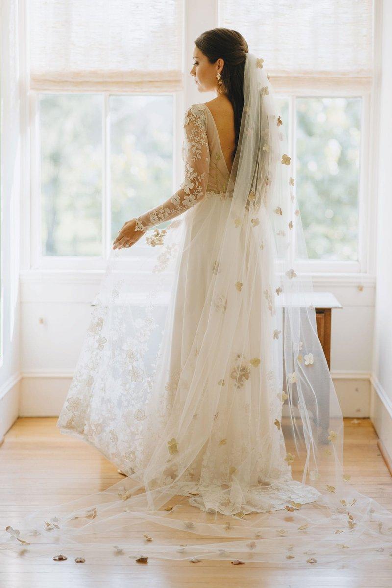 """Real Bride in Claire Pettibone """"Primavera"""" Gown"""