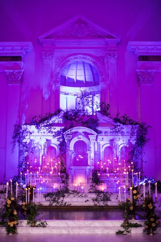 seattle-mariners-marc-rzepczynski-wedding-ceremony-at-vibiana-altar-purple-lighting-tapered-candles