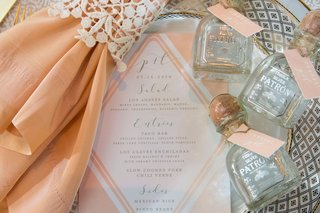 wedding-menu-pink-pink-napkin-mini-patron-bottles-of-tequila-wedding-favors