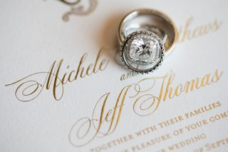 wedding rings engagement ring halo setting on white and gold invitation calligraphy
