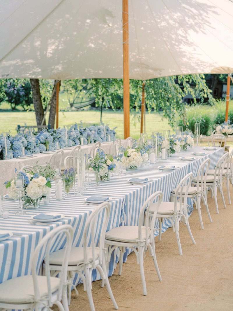 Blue & White Tent Wedding Reception