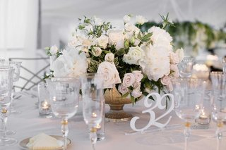 wedding-reception-low-centerpiece-footed-vase-white-rose-peony-greenery-flowers-white-cutout-number