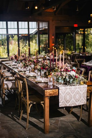 rustic-old-europe-themed-banquet-tablescape-with-dark-candles-and-sage-greenery-wine-colored-flowers