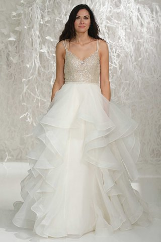 wtoo-brides-2016-gold-beaded-v-neck-bodice-with-spaghetti-straps-and-layered-organza-ball-gown-skirt