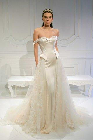 le-secret-royal-bridal-collection-galia-lahav-structured-silk-dress-overskirt-off-shoulder-straps