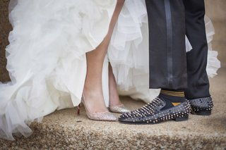 grooms-black-shoes-covered-in-gold-silver-and-black-studs