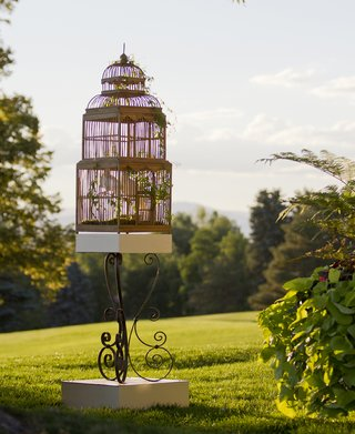 antique-wood-bird-cage-on-green-grass-lawn-at-wedding