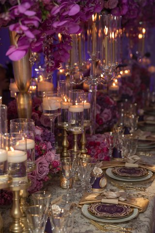 pink-purple-gold-tablescape-brimming-flowers-hanging-chargers-feminine-bold-styled-shoot