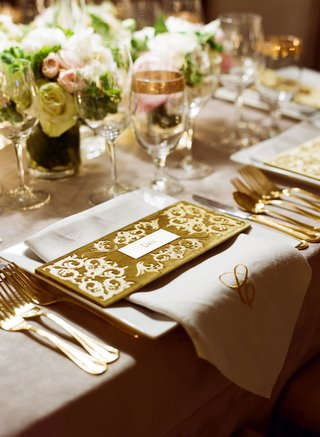 gold-velvet-name-card-with-monogram-napkin-at-reception