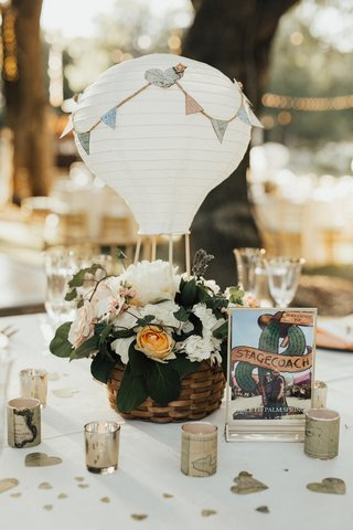 paper-lantern-hot-air-balloon-wedding-centerpiece-surrounded-by-votive-candles-wrapped-with-maps