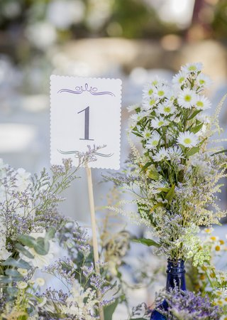 small-white-card-purple-calligraphy-table-1-and-white-and-green-wildflower-floral-arrangements