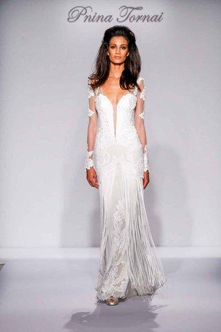 pnina-tornai-for-kleinfeld-2016-illusion-long-sleeve-wedding-dress-with-fringe-skirt
