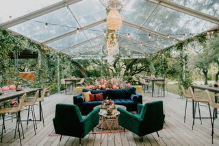 wedding-reception-clear-tent-rattan-pendant-chandelier-velvet-lounge-furniture-bar-stools-lights