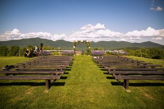 outdoor-vermont-ceremony-mountains-clouds-blue-sky-rustic-wedding