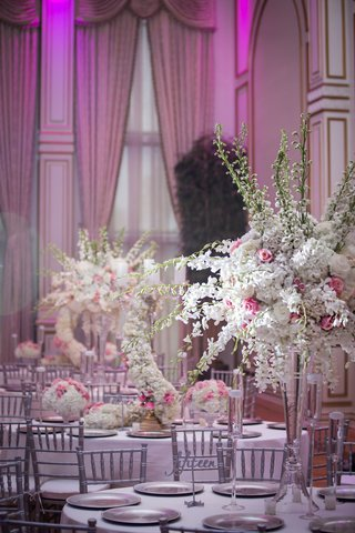 blush-pink-white-silver-grey-wedding-color-palette-tall-centerpiece-ashley-alexiss-wedding-reception