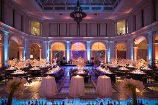 ballroom-wedding-blue-purple-pink-lighting-winter-theme-white-silver-decor-wedding-reception
