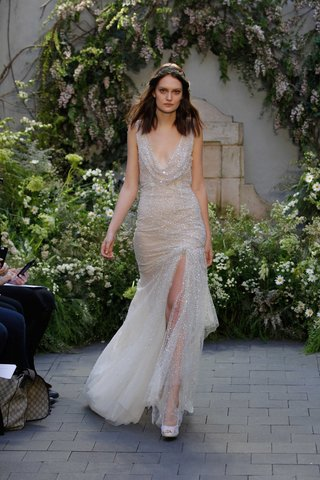 monique-lhuillier-spring-2017-diamond-wedding-dress-with-cowl-neck-front-slit-in-front-draped-sheath