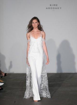 rime-arodaky-2018-bridal-collection-wedding-dress-long-sheer-train-jumpsuit-pants-spaghetti-strap