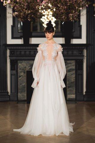 ines-di-santo-spring-2019-bridal-collection-wedding-dress-aria-off-shoulder-poet-sleeve-a-line-godet