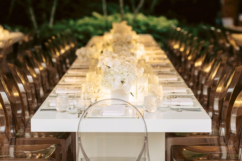 Modern White Reception Table