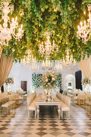 black-and-white-checkerboard-floor-long-tables-with-tall-centerpiece-hedge-wall-flowers-colombia