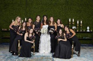 bride-in-oscar-de-la-renta-bridesmaids-in-mismatched-black-dresses-moody-dark-bouquets