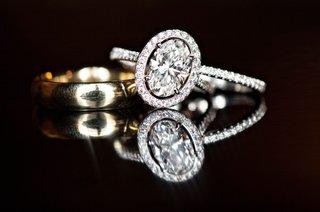 oval-diamond-halo-engagement-ring-diamond-eternity-band-plain-yellow-gold-band