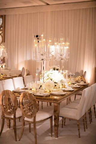 crystal lucite acrylic wedding reception candelabra candle holder with taper candles white gold decor