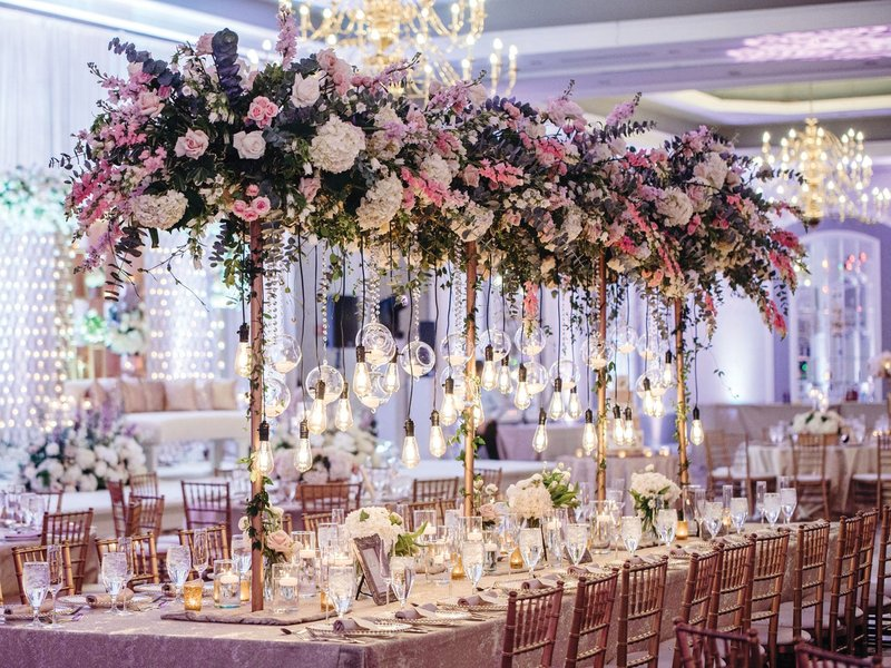 Pink & Purple Head Table Décor