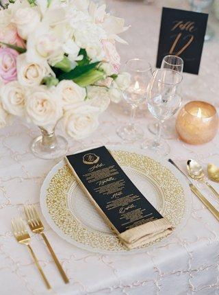 wedding-reception-embroidery-linens-gold-flatware-white-rose-centerpiece-black-gold-menu-card