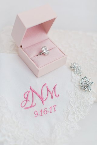 radiant-cut-diamond-halo-engagement-ring-lace-handkerchief-with-pink-monogram