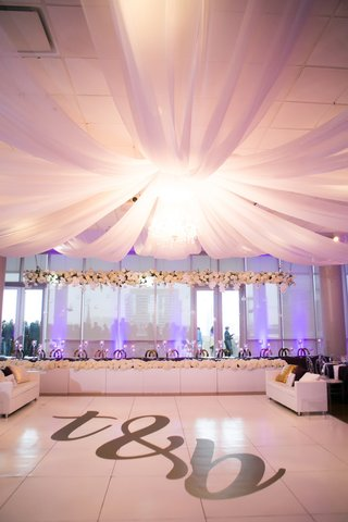 nba player brendan haywood wedding reception initial dance floor white head table purple lighting